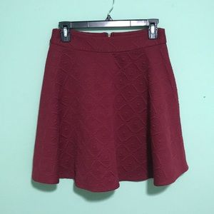 Maroon quilted skirt from Francesca's